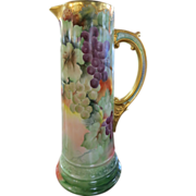 Very Large Limoges Tankard - Gold & Grape Motif
