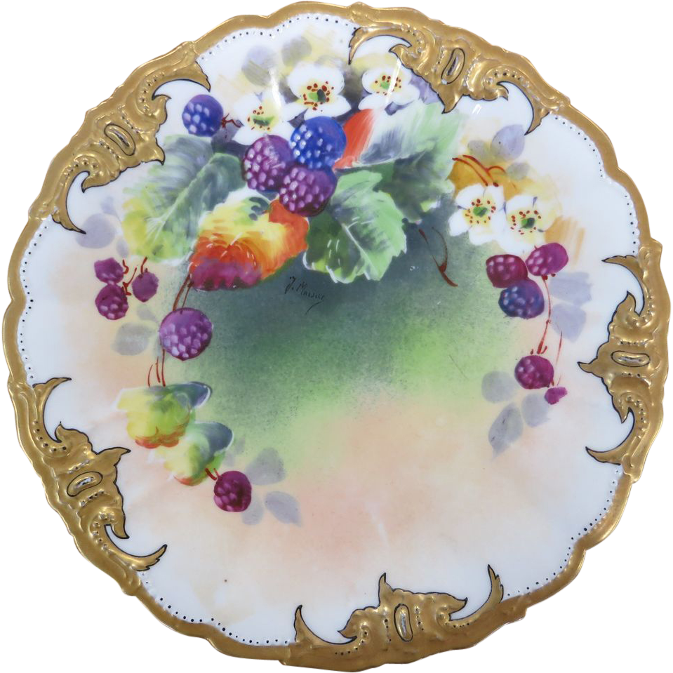 Limoges Hand Painted Plate with Gold & Berries