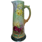 American Belleek Huge Ca. 1910 Hand Painted Tankard