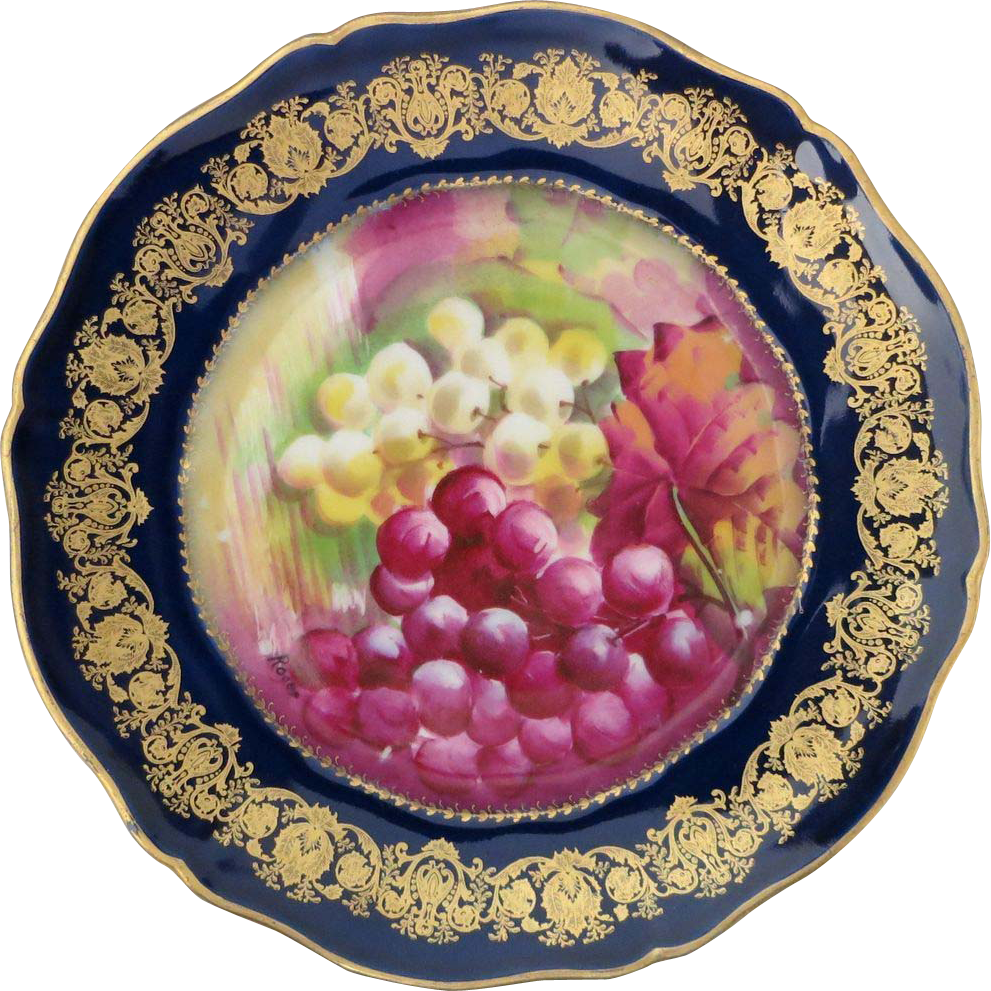 Haviland Limoges Cobalt Blue, Gold & Grapes Handpainted plate
