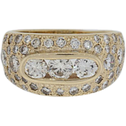 Approximately 2 1/4 Carat Diamonds 14K Lady's Yellow Gold Ring- Clear & White Diamonds
