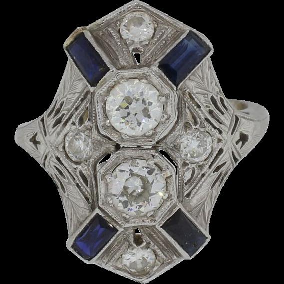 Lady's 20K Edwardian Diamond & Sapphire Ring