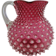 "Hobbs, Brockunier & Co. Cranberry & White ""Dew Drop"" Hobnail Pitcher"