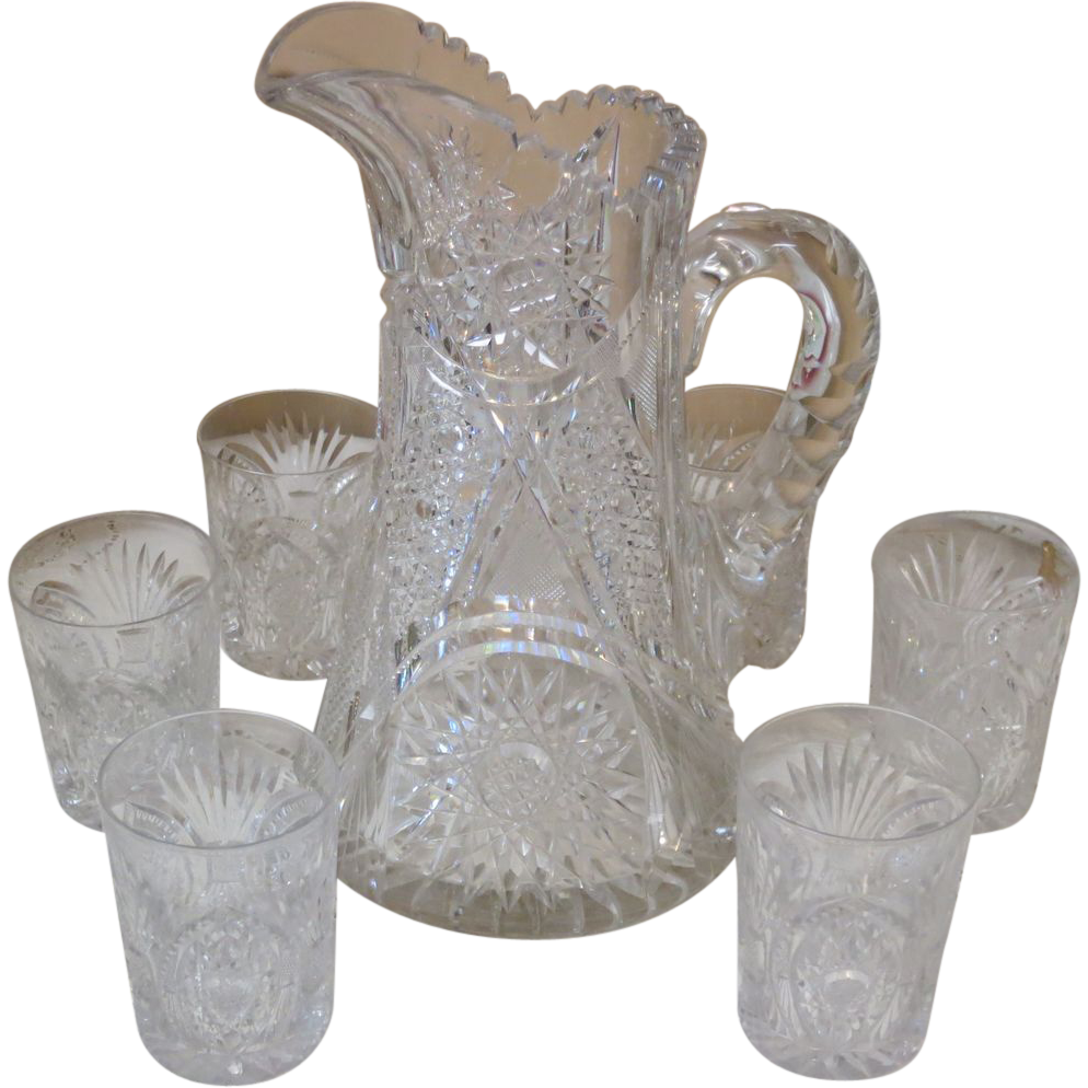 American Brilliant Cut Large Pitcher & 6 Tumbler Set