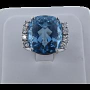 Awesome VVS Aquamarine & VS Diamond White Gold Ring