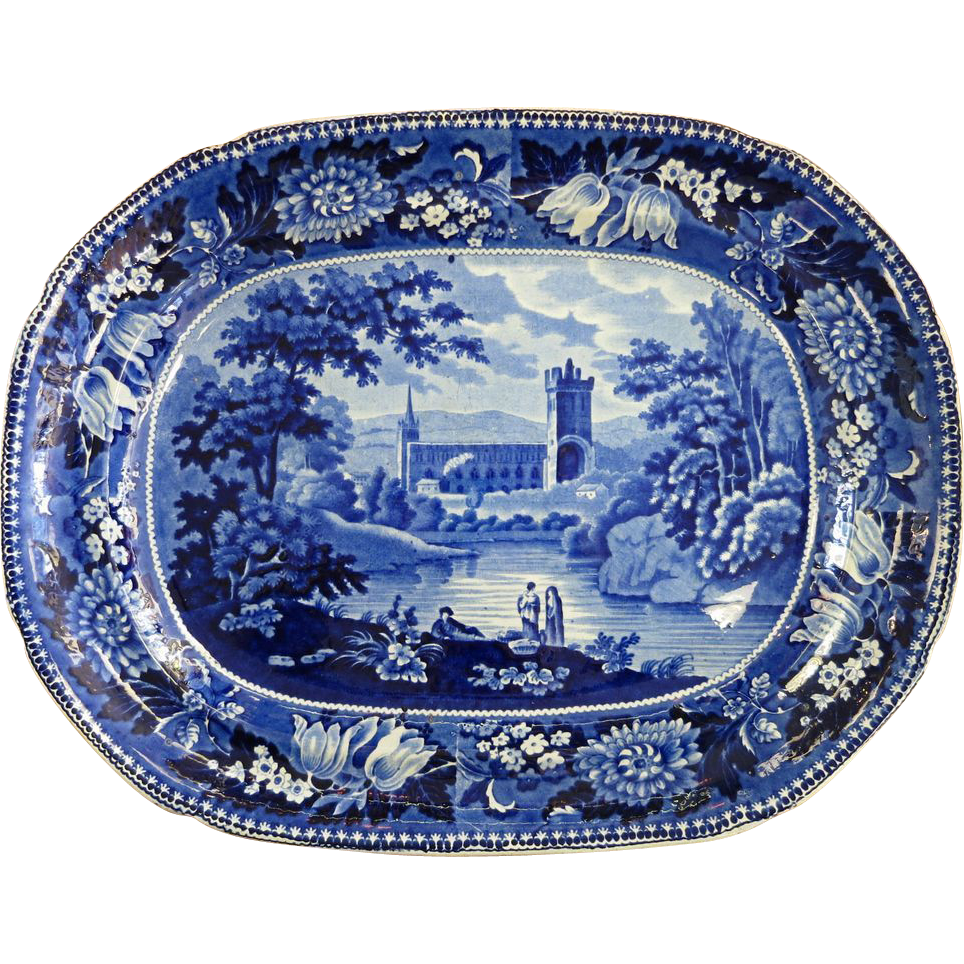 Historical Adams Staffordshire Large Platter - Jedburgh Abbey Roxburghshire