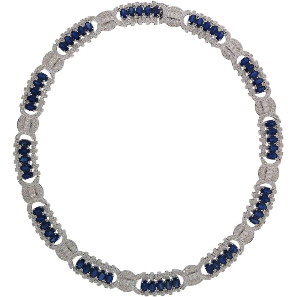 Awesome 18K White Gold 36.98 Carat Sapphire & 8.21 Carat Diamond Necklace!!