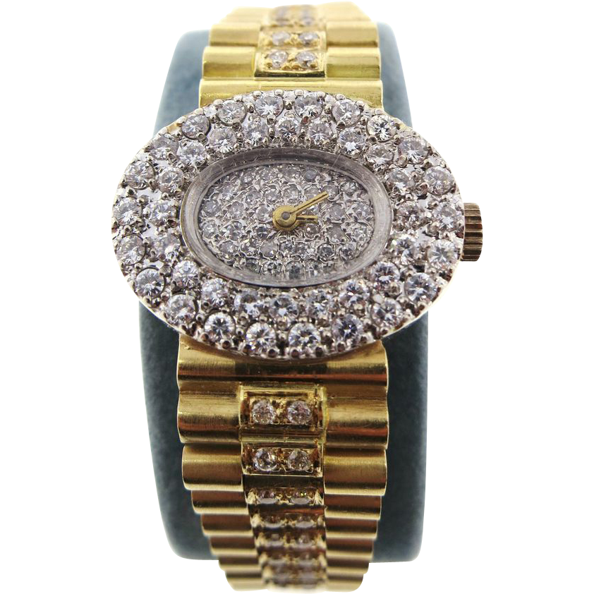 "Geneve ""Rolex Style"" 18 K Yellow Gold Bracelet Watch with 2.40 TW VS / F to G Diamonds"