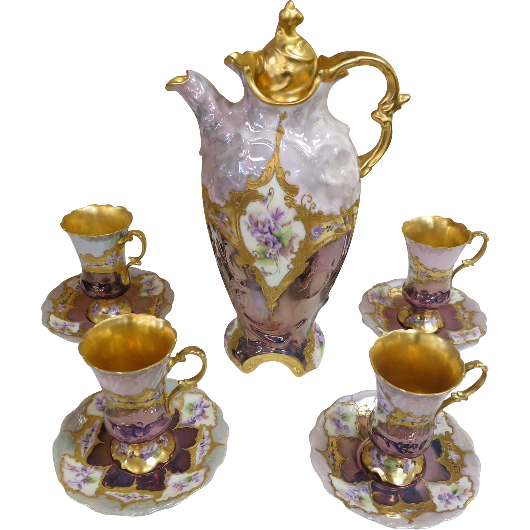 Over 100 Years Old Hand Painted Chocolate Pot & Cups - GOLD !!