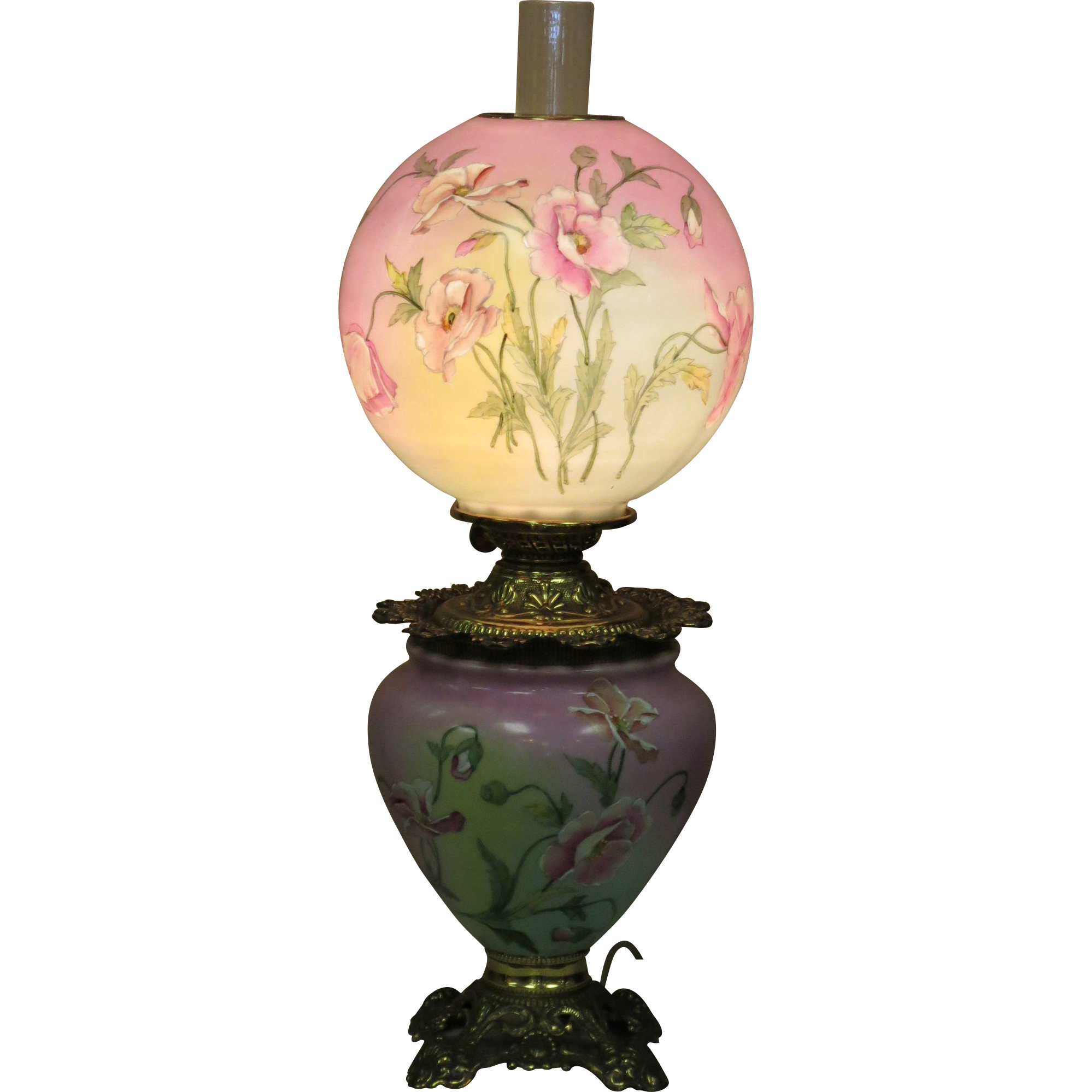 "Hand Painted & Enameled Hightlights on Circa 1890's Electrified ""Success"" Oil Lamp"