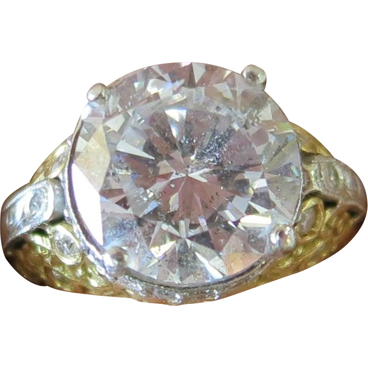 Custom Designed 4.10 Center Diamond and 4.70 Total Carat Lady's Ring