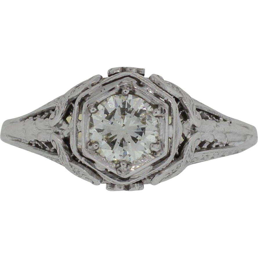 Antique Lady's 14K White Gold Diamond Ring - Incredible Detail Over 1/2 Carat Solitaire