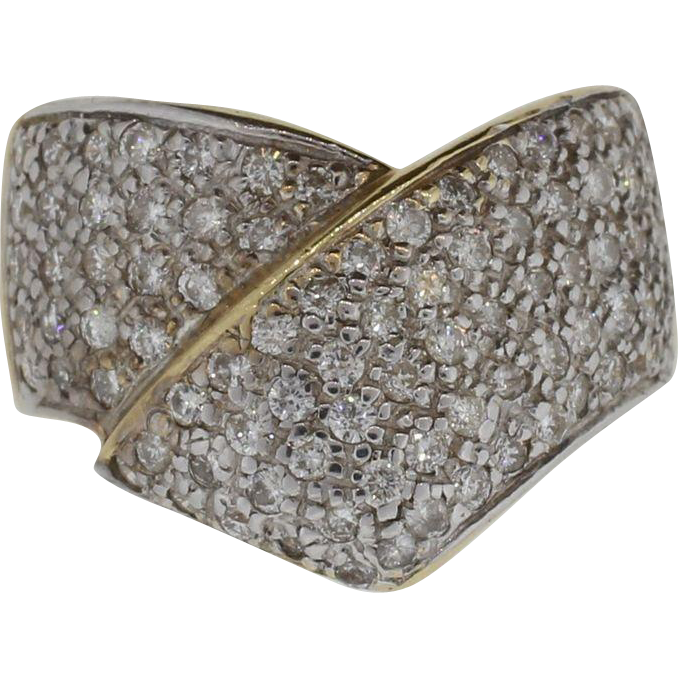 14K Yellow Gold Very Clear & White Diamond Ring with 1.75 Carats of Diamonds
