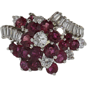 18K White Gold Ruby & l.65 Carats Diamond Ring