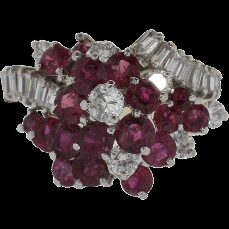 18K White Gold Ruby & l.65 Carats Diamond Ring