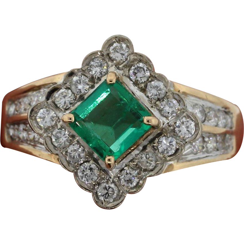 Lady's Emerald & Diamond 14 K Yellow Gold Ring