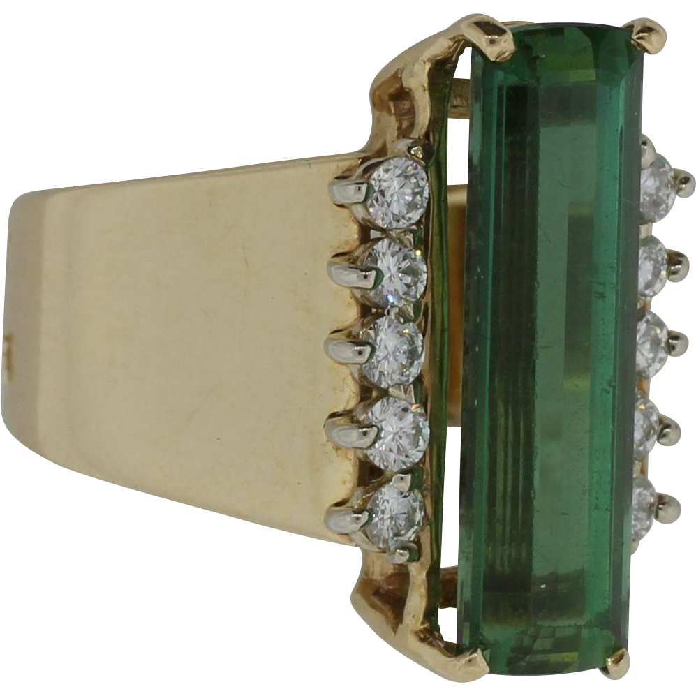 Lady's 14K Yellow Gold Diamond and Tourmaline Ring
