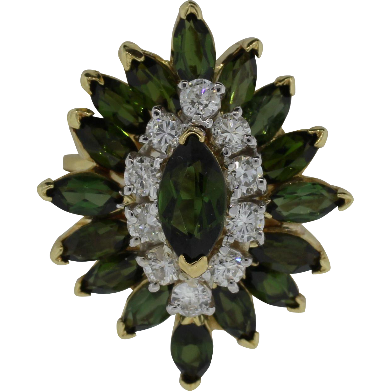 Lady's 18K Yellow Gold VVS and VS Diamond and Tourmaline Ring