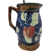 Cobalt Blue Majolica Syrup Pitcher with Pewter Top