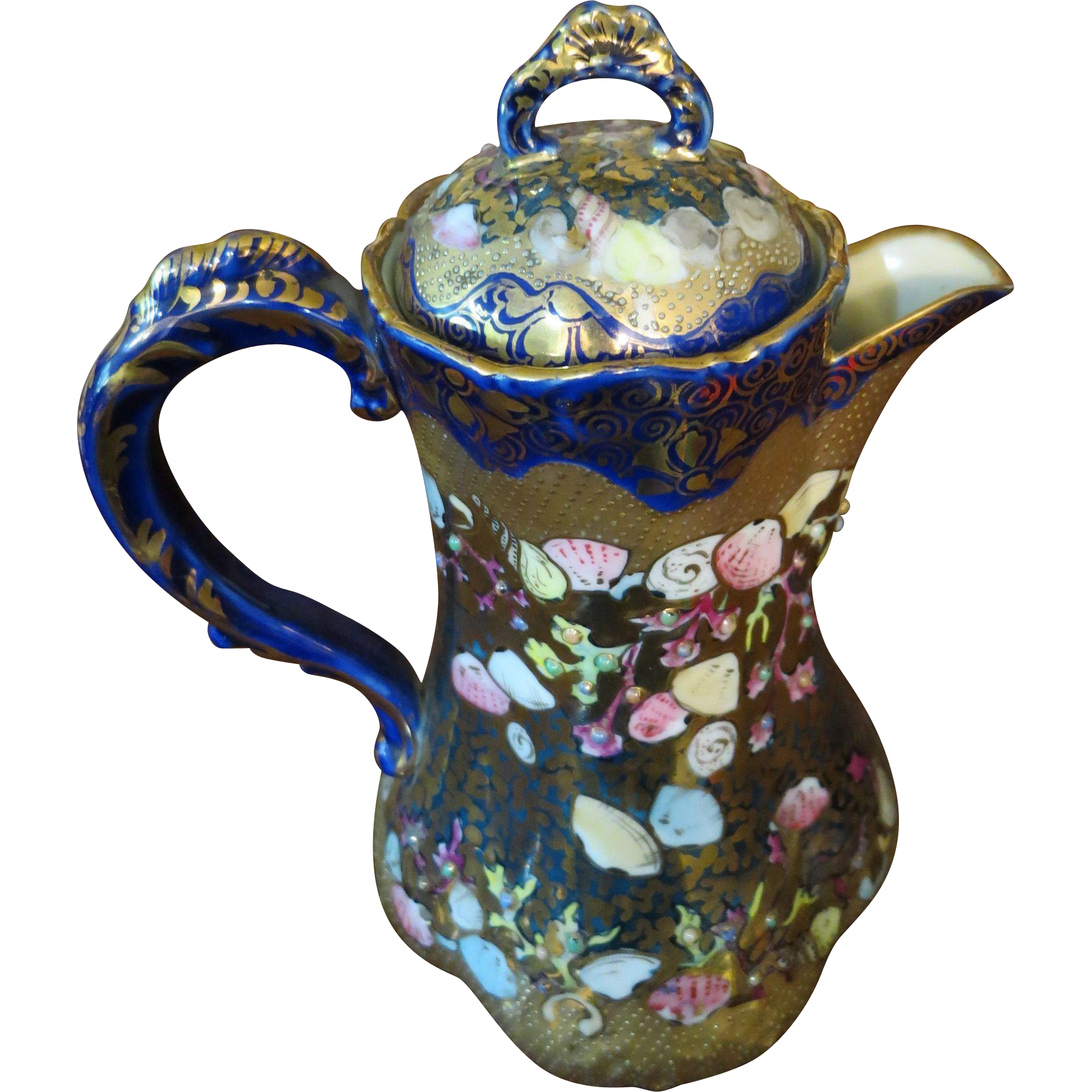 Nippon Cobalt Blue Jeweled & Heavy Gold Chocolate Pot - Marked