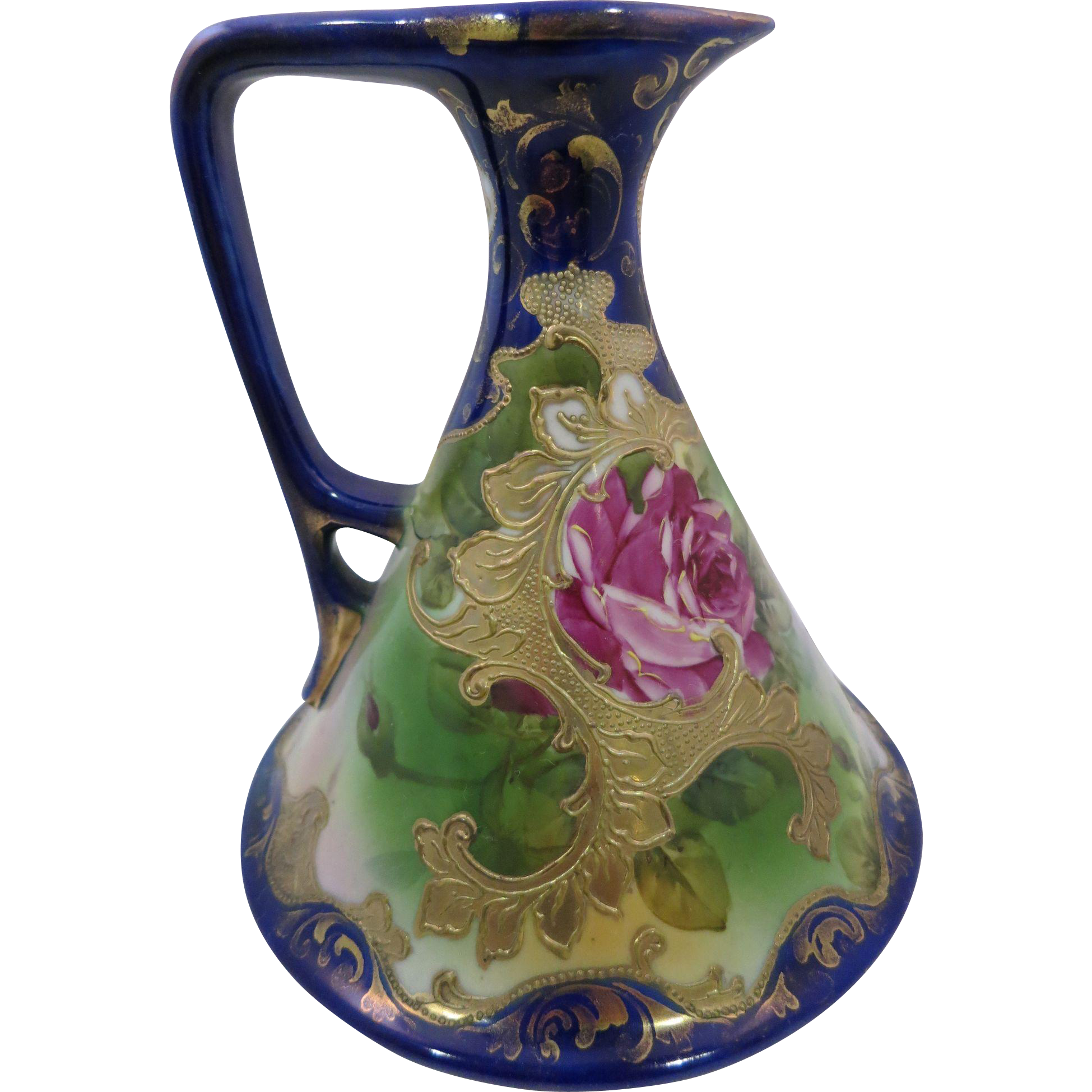 Nippon Cobalt Blue Handpainted Roses Ewer with Heavy Gold
