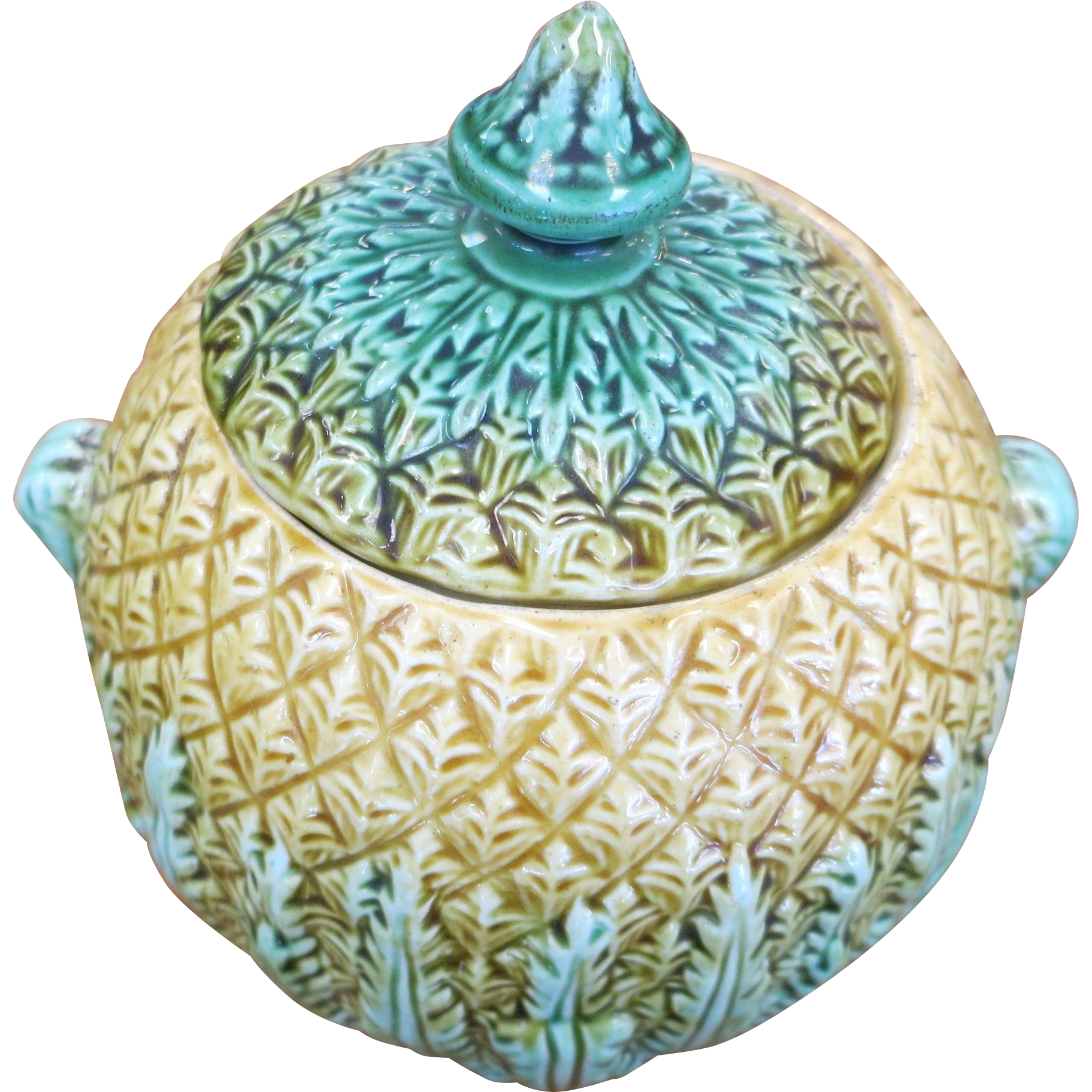 Majolica Pineapple Pattern Sugar Bowl