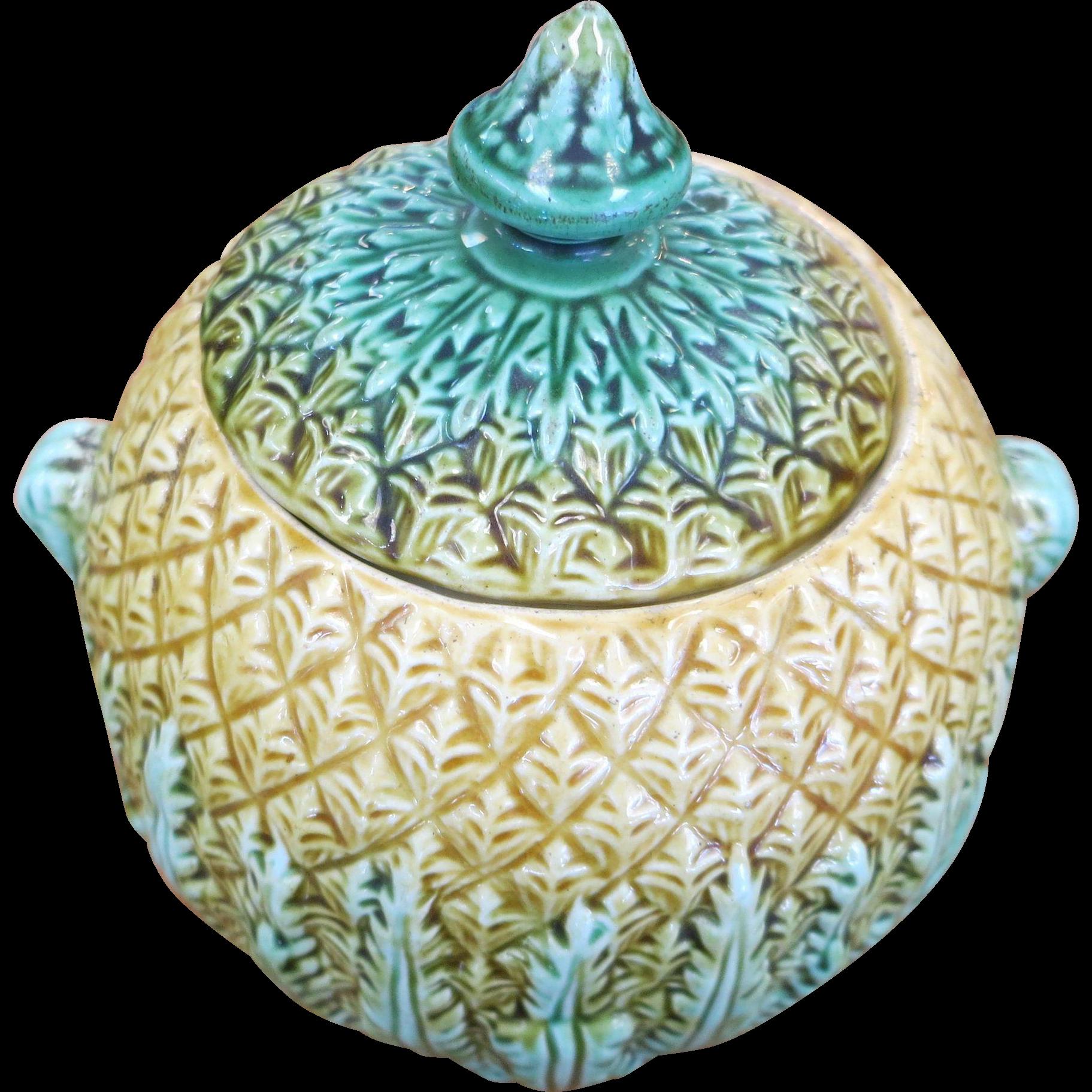 Majolica Pineapple Pattern Sugar Bowl