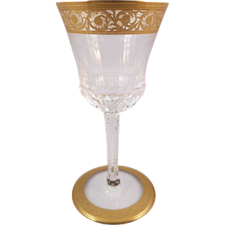 St. Louis Crystal France Gold Thistle Solid Band Base Burgundy Stem - Excellent