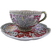 Nippon Red Background Moriage Rooster Cup & Saucer