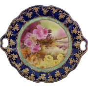 Nippon Hand Painted Cobalt Blue, Heavy Gold, Moriage Cake Plate