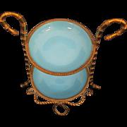 Lovely Palais Royale Blue Opaline Trinket / Vanity Piece