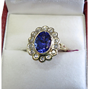 Lady's 14K Yellow Gold Tanzanite & Diamond Ring