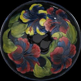 Very Large Moorcroft Cobalt Blue Hisbiscus Bowl -  Vivid Colors - Excellent