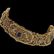 Antique 20K Yellow Gold Natural Sapphire & European Cut Diamond Bracelet