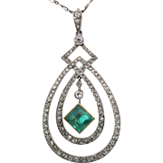 Victorian Platinum Pendant & Figaro, Hand Made with 2 Carat Emerald & Rose Cut & European Cut Diamonds