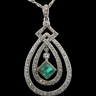 Victorian Platinum Pendant & Figaro, Hand Made with 2 Carat Emerald & Rose Cut & European Cut Diamonds