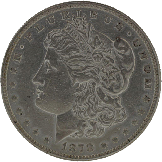 1878 Morgan Silver Dollar - 7 Tail Feathers over 8 variant