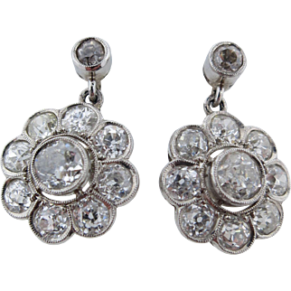 Lady's Platinum & Diamond Drop Style 3.7 Carat Total Weight Earrings