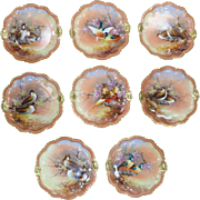 Set of 8 Hand Painted Limoges Game Plates Circa Early 1900s