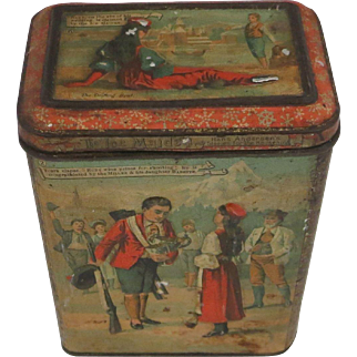 """Rare 19thC Victorian CARR'S BISCUIT TIN """"The Ice Maiden"""" Hans Christian Andersen"""
