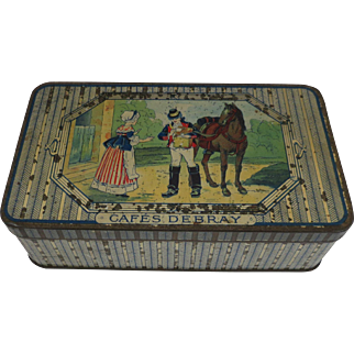 Vintage Debray French Biscuit Tin Box Scene of Mail Carrier with Horse delivery