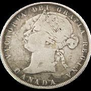 Rare 1870 Canada Victoria 50 Cents Coin