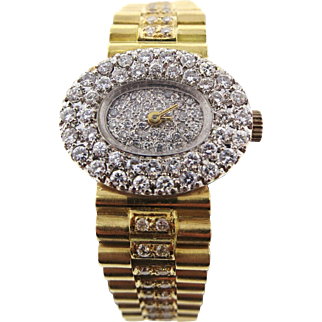 "Geneve ""Rolex Style"" 18 K Yellow Gold Bracelet Watch with 2.40 TW VS / F to G Diamonds"