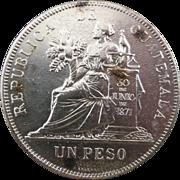 Rare 1894 Guatemala Un Peso 90% Silver