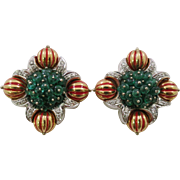 Giovane Italy Designer 18K Yellow Gold Earrings with Emerald Beads, .64  Carat of  F Color / VS1 Clarity Diamond Clip-on Earrings with Enamel Highlights