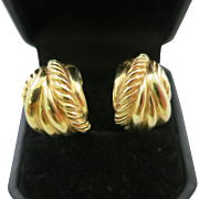 David Yurman 18 K Yellow Gold Rope Design Earrings