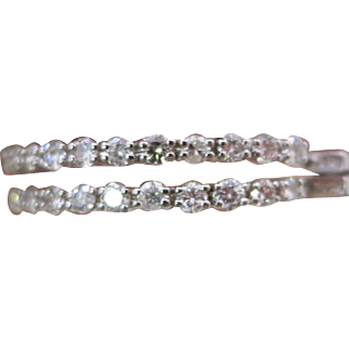 14K White Gold 4.25 Total Carat Weight 40 mm Earrings - White & Clear Diamonds