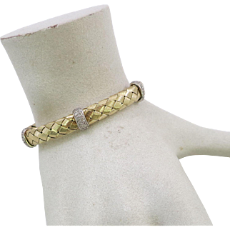 Italian 14 K Yellow Gold Woven Design Diamond Bracelet