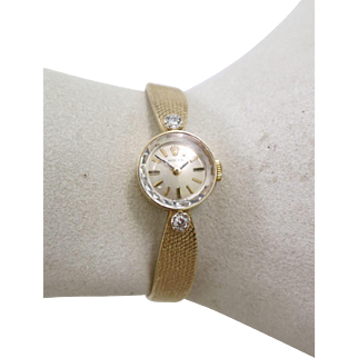 Vintage Lady's 14K Yellow Gold and Diamond Bracelet Rolex Watch