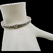 James Avery Retired Heart of Gold Sterling & 14K Bangle Bracelet